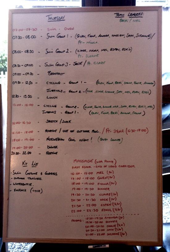 Slike tavler fikk vi dagens program på. Tenke sjæl kan man gjøre i Norge.