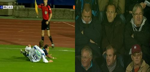 Venstre: Linjemannen avverger uhumskheter. Gult kort til Molde-spilleren. <br>Høyre: Tom Nordlie, for anledningen kledd i søppel, nyter kampen. Nyfriserte Davy Wathen kan skimtes i bildekanten.